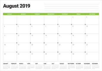 August 2019 desk calendar vector illustration