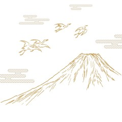 Hand drawn Fuji mountain template background. Gold nature elements vector.