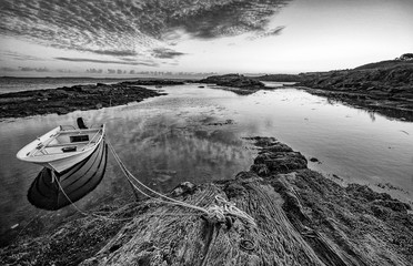 Beautiful black and white sunset seascape. Location: Haugesund, Norway