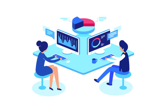 Colleagues working in workplace, isometric style, vector illustration