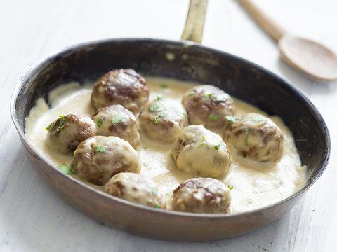 rustic swedish meatballs in a pan