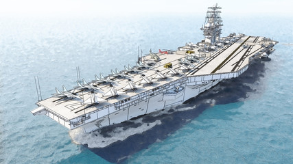 Aircraft carrier crossing the ocean 3D rendering