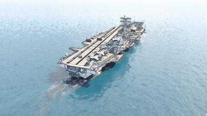 Aircraft carrier crossing the ocean 3D rendering
