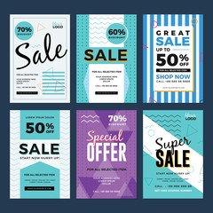 Sale and discount flyer set. Vector illustration for social media banners, poster, flyer and newsletter designs