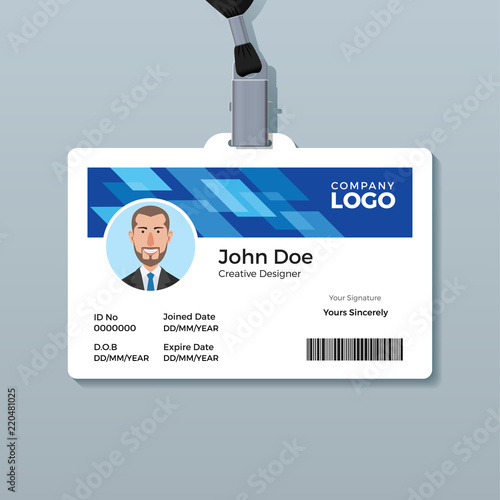 blue office id badge design template stock image and royalty free