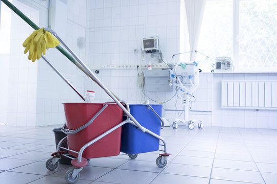Cleaning trolley in the corridor of the hospital. concept of pandemic, coronavirus, virus, disinfection, panic.