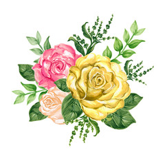Watercolor gouache illustration sweet rose bouquet on white background hand paint