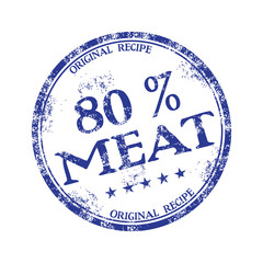Blue grunge rubber stamp with the text eighty percent meat written inside the stamp
