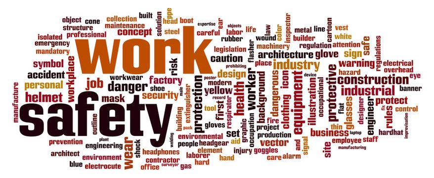 Work safety word cloud