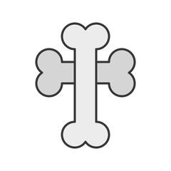 cross bone, Halloween related icon, filled outline design editable stroke