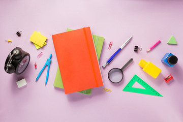 office supplies at abstract paper background