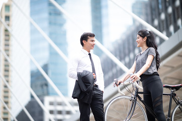Business couple on the city