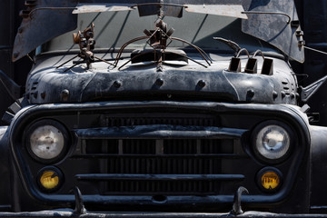 Recess Fitting Vintage cars Antique black truck, attraction on Vama Veche beach,a non-mainstream tourist destination on the Black Sea coast, near the border with Bulgaria, popular destination for tourists from entire world.