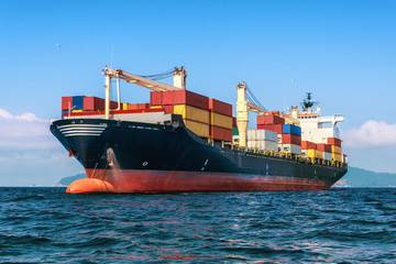 Logistics and transportation of International Container Cargo ship