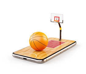 Unusual 3d illustration of a basketball ball on court on a smartphone screen. Watching basketball and betting online concept.