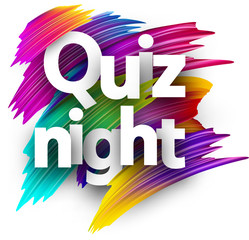 Quiz night sign with colorful brush strokes.