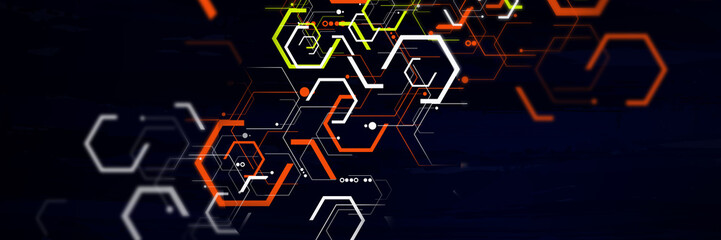 Abstract geometric futuristic digital technology and science background