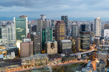 Osaka city in the evening