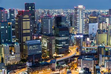 Osaka city urban city at night