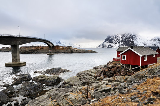The bridge at Hamnoy  on the Lofoten Islands, with the mountain of Olstind in the background
