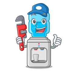 Plumber modern water cooler isolated on mascot