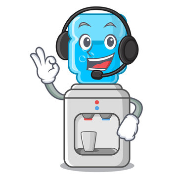 With headphone modern water cooler isolated on mascot