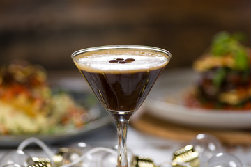 Espresso Martini a cold coffee flavoured cocktail made with vodka and coffee