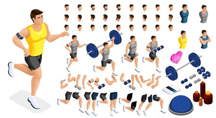 Isometrics create your sporty inflated man, a set of hairstyles, emotions, hands, feet. Without, gym, jumping. Sports equipment for creative set 1