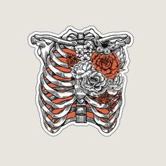 Tattoo anatomy vintage illustration. Roses chest skeleton.