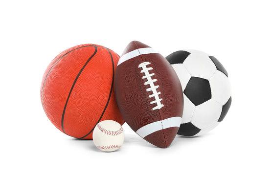 Different sport balls on white background