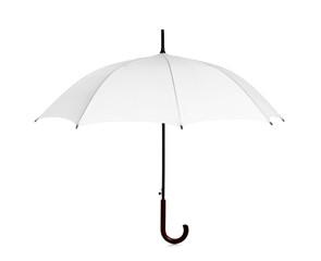 Beautiful open umbrella on white background
