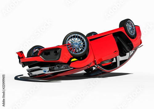 Car Wreck 3d Render Image Representing A Wrecked Car Stock Photo
