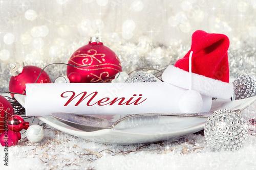 Menü Weihnachten.Menü Weihnachten Gedeckter Tisch Stockfotos Und Lizenzfreie Bilder