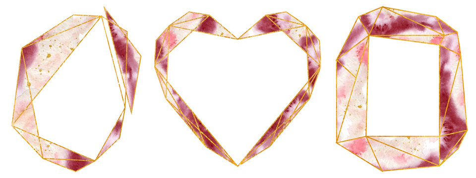 Watercolor gold frames set in soft pastel pink and bordo colors. Polygonal heart shape.