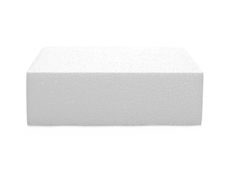 Styrofoam cube isolated on white background, with clipping path