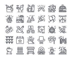 Simple line icon set of Party Element for website mobile app and more . Pixel perfect icons design , Editable Stroke.