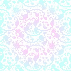 Bandana print with stylized paisley floral ornament in blue and pink colors. Square seamless pattern.
