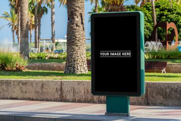 Outdoor billboard advertisement in seaside resort city mockup