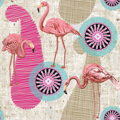 Flamingo on a colorful background. Seamless pattern with flamingos and tropical plants. Colorful pattern for textile, cover, wrapping paper, web