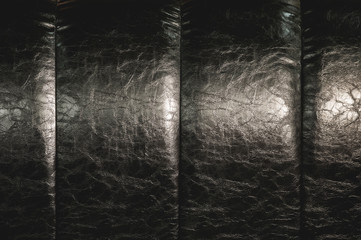 The texture of the real leather on the back of the bed. Vertical stripes of bulk skin are black. Expensive shine of artificial leather