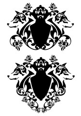 wolf heads and heraldic shields among rose flowers - black and white vintage style vector decor