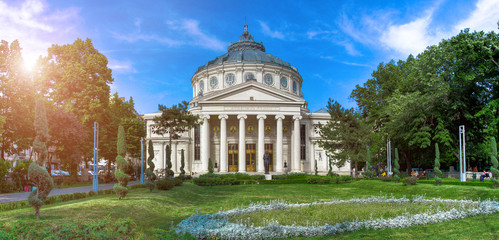 Poster Theater Panorama of The Romanian Athenaeum George Enescu (Ateneul Roman) in Bucharest, Romania. Most prestigious concert hall and one of the most beautiful buildings in the city. the famous landmark