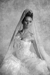 photo in vintage style. Oriental beauty in white