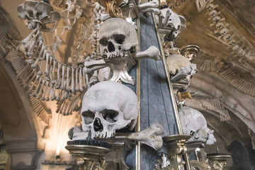 Kostnice Church in Kutna Hora with Ossuary interior decoration from human bones and skulls, Czech republic
