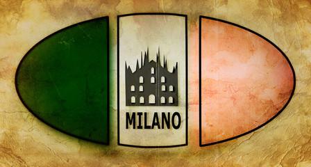 Logo Italia vintage, Milano, Duomo.