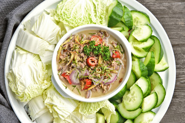 Pickled fish with coconut milk sauce and vegetable. ( Thai name is Pha-ra Lone)