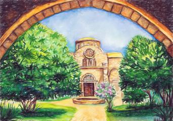 Old monastery of St. Barnabas Cyprus Famagusta art illustration