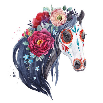 Watercolor horse portrait