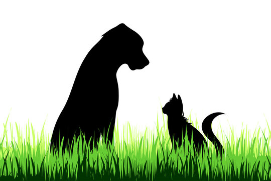 Vector silhouette of dog and cat on a meadow on white background.