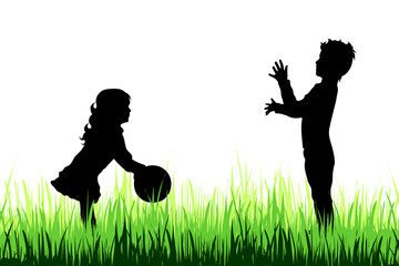 Vector silhouette of children who play on the meadow.
